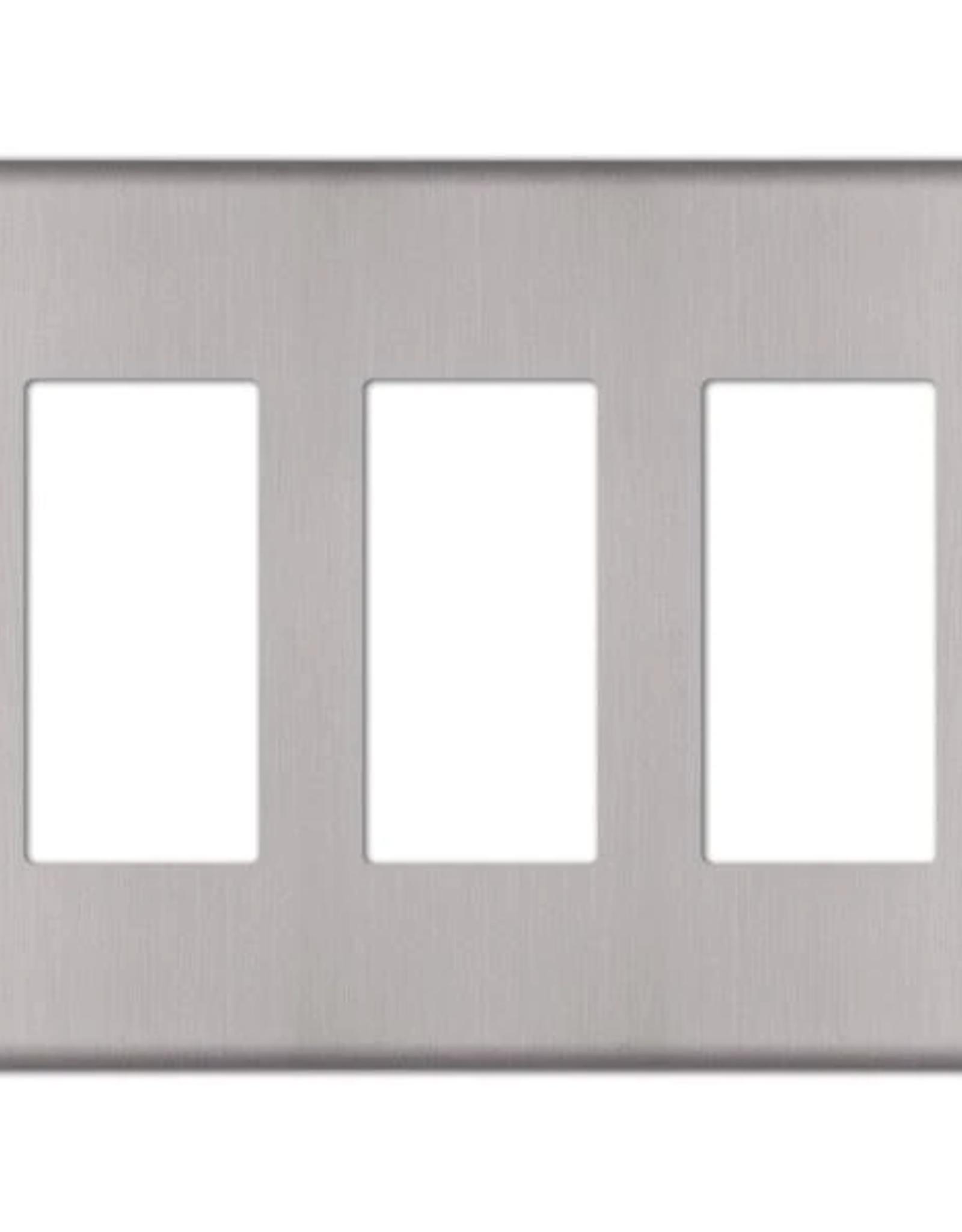 Amerelle Kentley 3 Gang Rocker Steel Wall Plate - Brushed Nickel