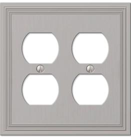 Amerelle Hallcrest 2 Gang Duplex Metal Wall Plate - Satin Nickel