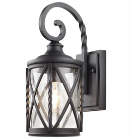 Home Decorators Collection 1-Light Black 14.5 in. Outdoor Wall Lantern Sconce with Seeded Glass