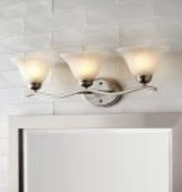 Hampton Bay Andenne 3-Light Brushed Nickel Vanity Light with Bell Shaped Marbleized Glass Shades