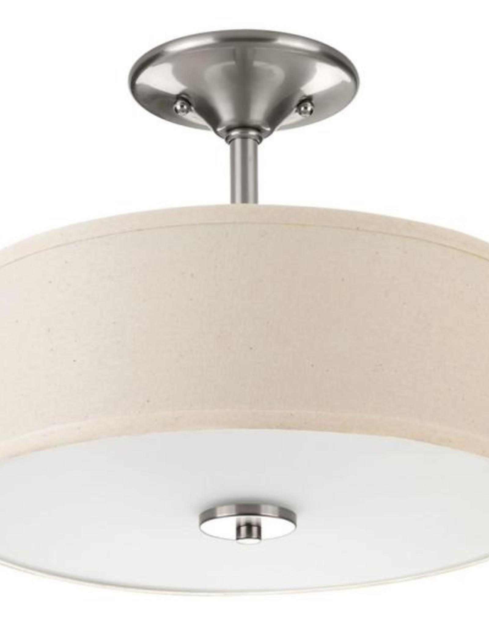 Progress Lighting Inspire Collection 13 in. 2-Light Brushed Nickel Bedroom Semi-Flush Mount