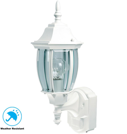 Hampton Bay Alexandria 180° White Motion-Sensing Outdoor Decorative Wall Lantern Sconce