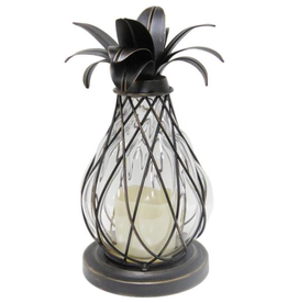 Hampton Bay 12.5 in. Aged Bronze Outdoor Patio LED Candle Pineapple Lantern