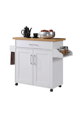 HODEDAH White Kitchen Island with Spice Rack and Towel Holder
