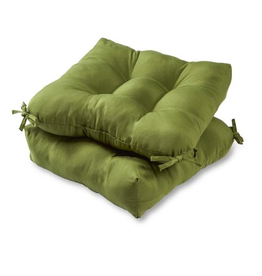 Greendale Home Fashions Solid Summerside Green Square Tufted Outdoor Seat Cushion (2-Set)