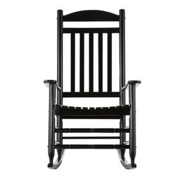 Hampton Bay Black Wood Outdoor Rocking Chair