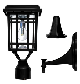 Prairie Bulb Single Black Integrated LED Outdoor Solar Post Light with 3-Mounting Options Fitter, Pier and Wall Mounts