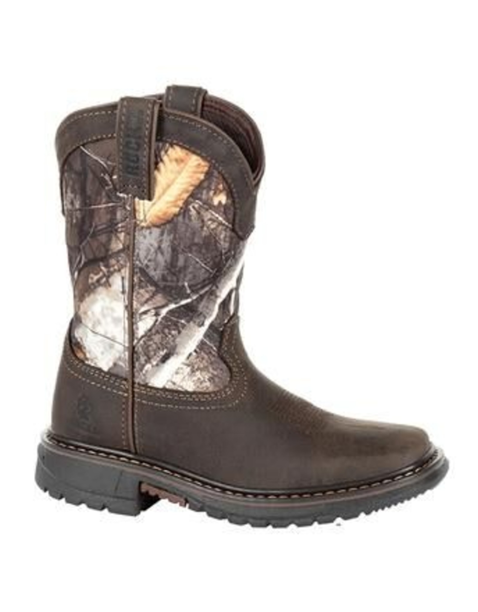 "Rocky Brands Boots Kids Brn 8"" Waterproof Western Real Tree Camo Boots"