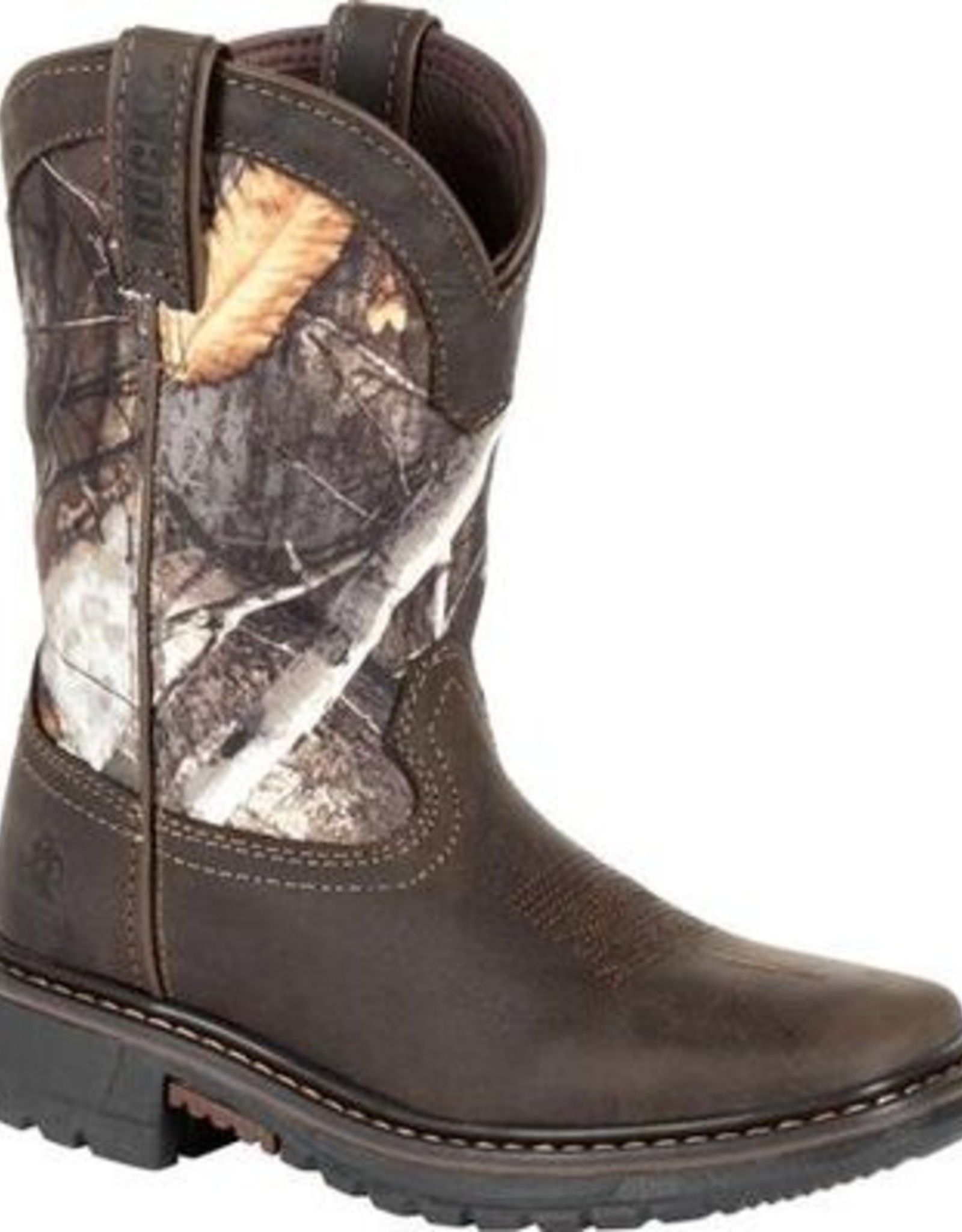 "Rocky Brands Boots Kids Brn 8"" Waterproof Western Real Tree Camo Boots"