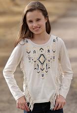 Cruel Girl Girls Long Sleeve Fringe and Aztec Print
