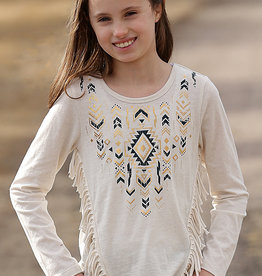 Cruel Girl Girls Long Sleeve Fringe and Aztec Print