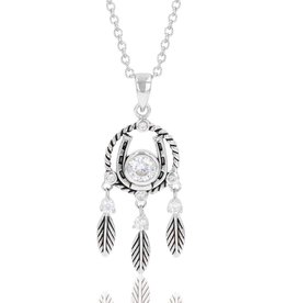 Montana Horseshoe Feather Dream Catcher Necklace