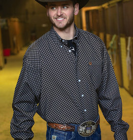 Cinch Cinch Long Sleeve Black Choc Print Button Shirt