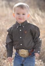 Cinch Cinch Boys Infant Black Chocolate Print Button Shirt