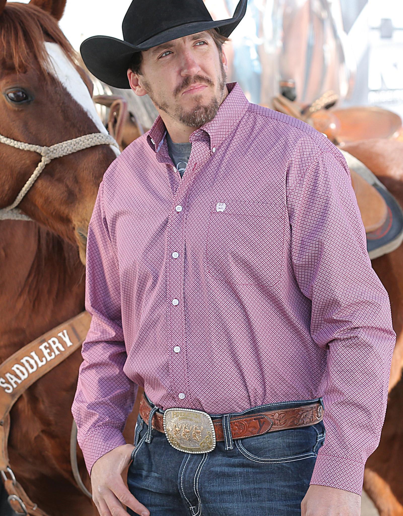 Cinch Cinch Long Sleeve Cranberry Print Western Shirt