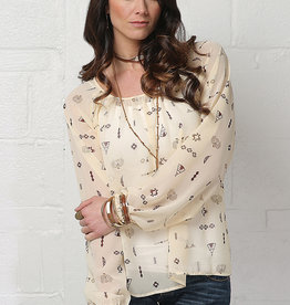 Cruel Girl Cream Indian Print Chiffon Blouse