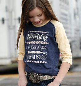 Girls Cruel Girl Navy Arrow Print Western 3/4 Sleeve Tee