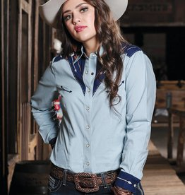 Womens Cruel Denim Long Sleeve Arrow Ranch Western Snap