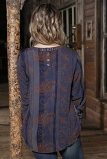Womens Cruel Denim Long Sleeve Navy Copper Paisley Keyhole Blouse
