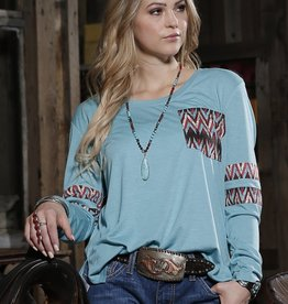 Ladies Cruel Girl Turquoise Aztec Long Sleeve Tee