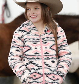 Girls Cruel Girl Warm Pink Aztec Fluffy Fleece Full Zip Hooded Jacket