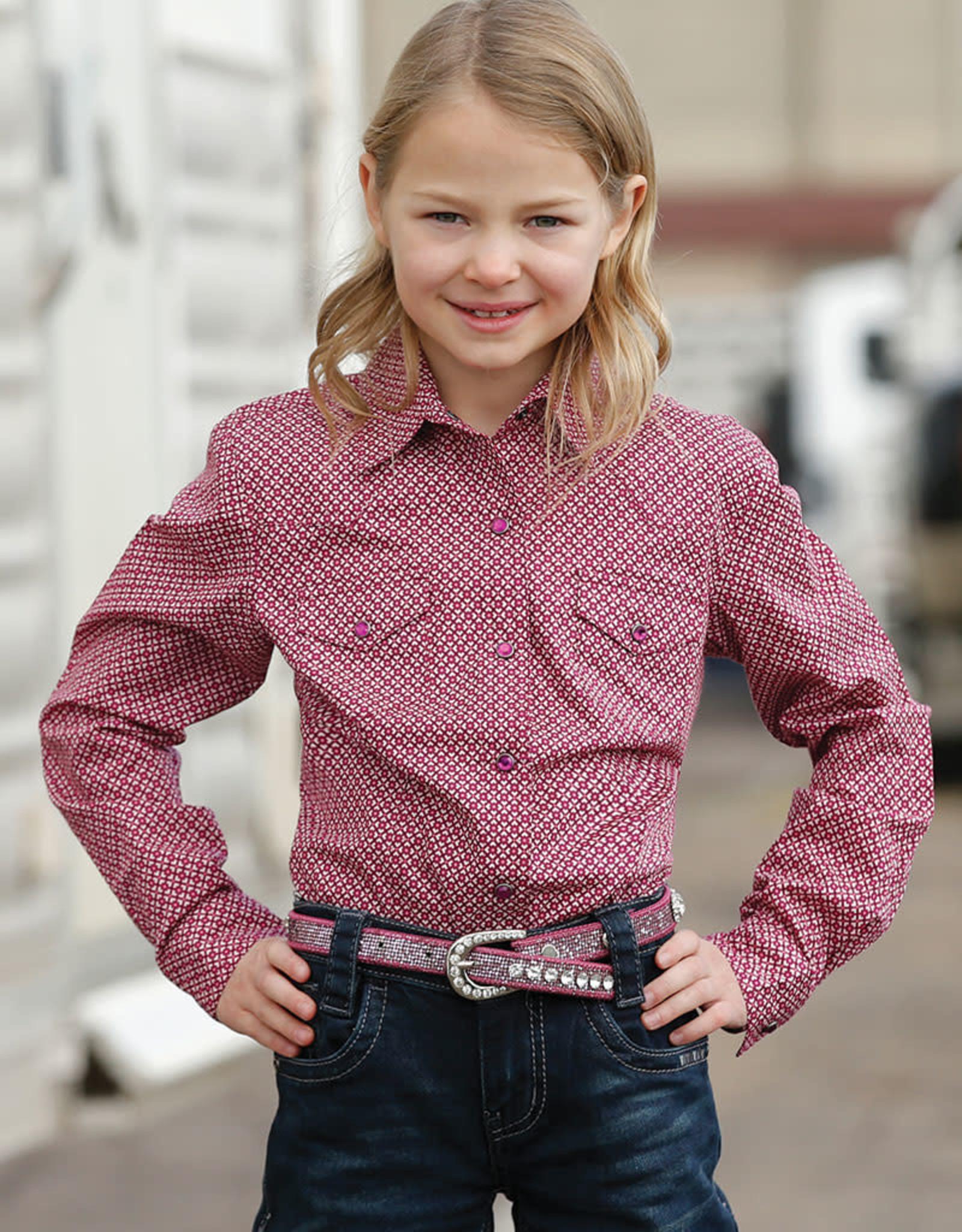 Girls Cruel Girl Purple Print Western Long Sleeve Snap Shirt