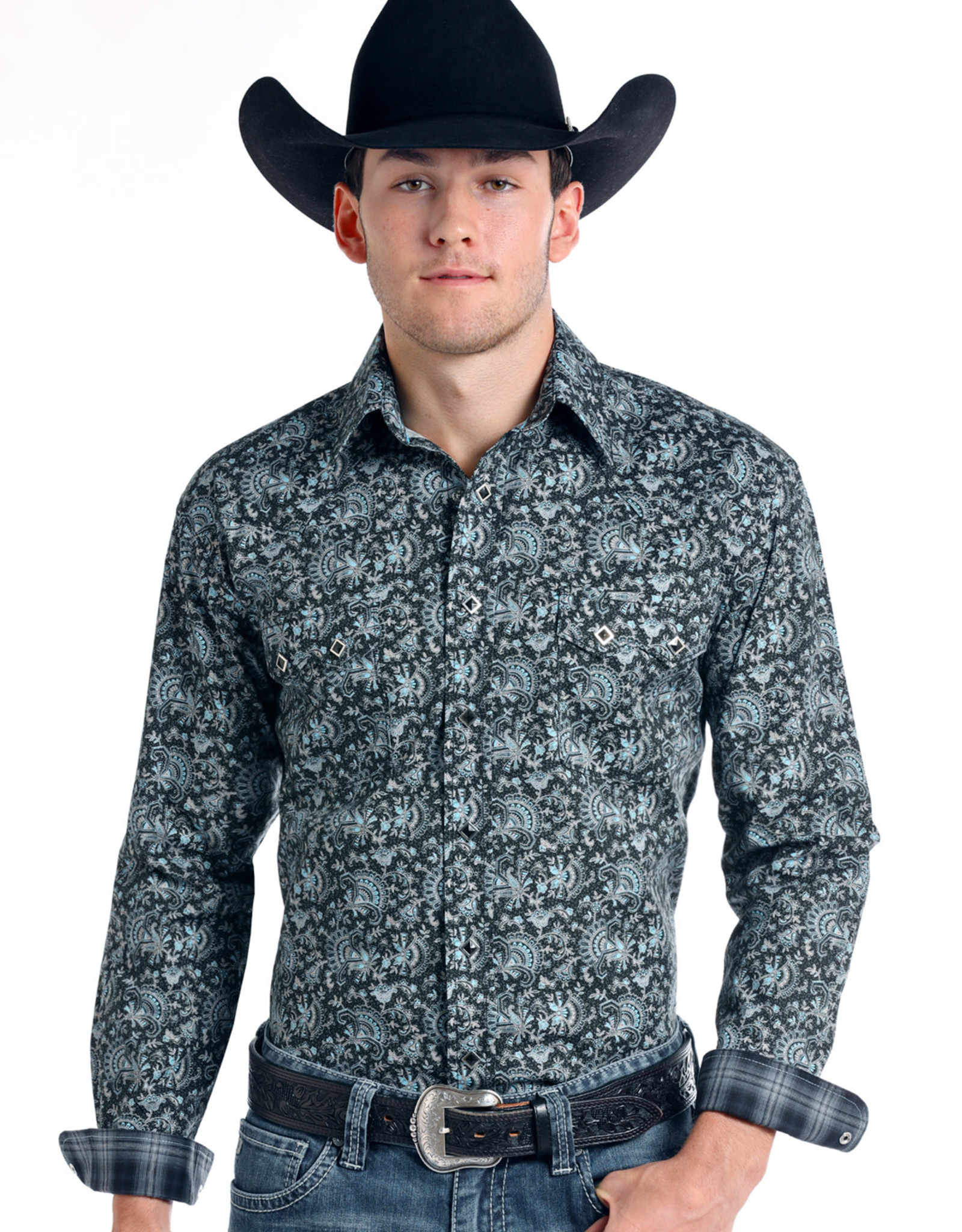 Men's Panhandle Slim Rough Stock Navasota Vintage Print  Western Snap Shirt