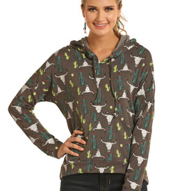 Ladies Rock n Roll Cowgirl Steer Head and Cactus Hooded Pullover