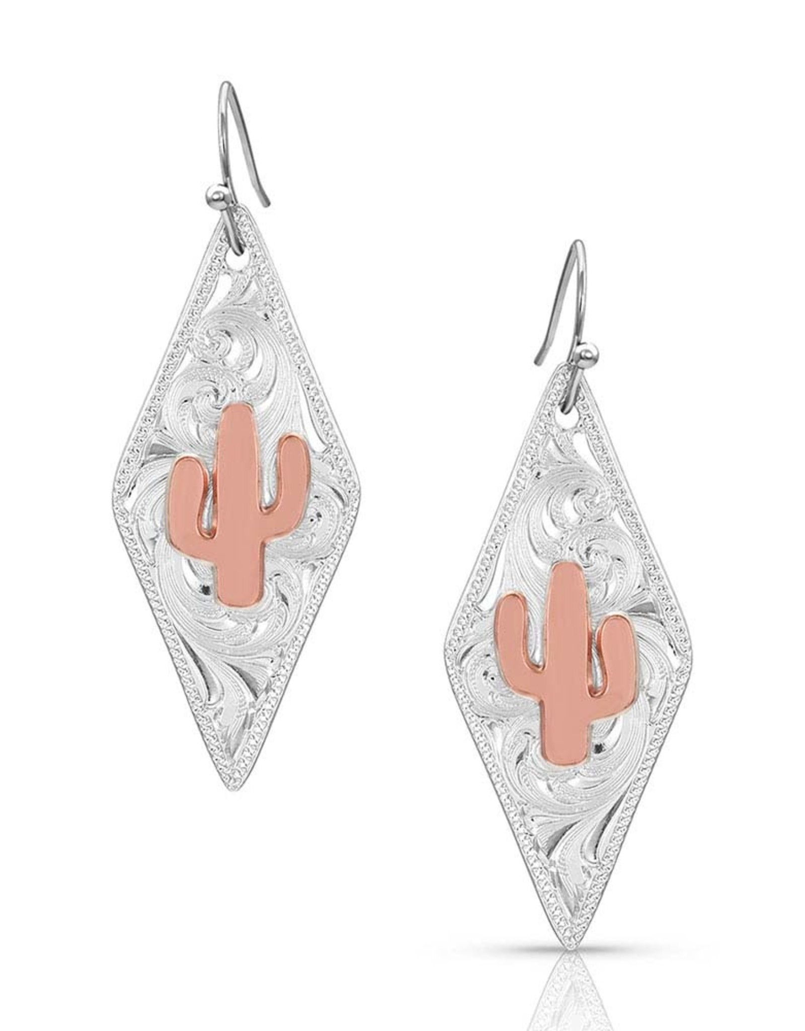 Montana Silver Filigree Rose Gold Cactus Earrings