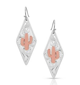 Montana Silver Filigree Rose Gold Cactus Earrings