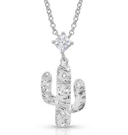 Montana Silver Filigree Cactus CZ Necklace
