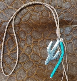 Leather Braided Brown Necklace with Cactus & Turquoise Charm