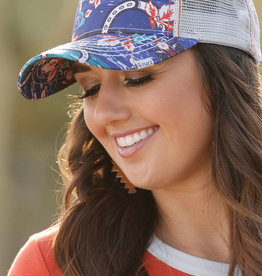 Cruel Girl Navy Orange Rose Horseshoe Ball Cap