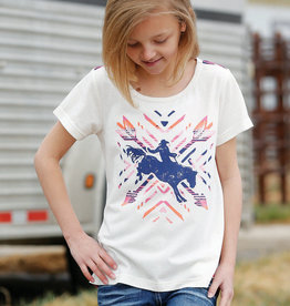 Girls Cruel Denim Pink Bucking Horse Tee