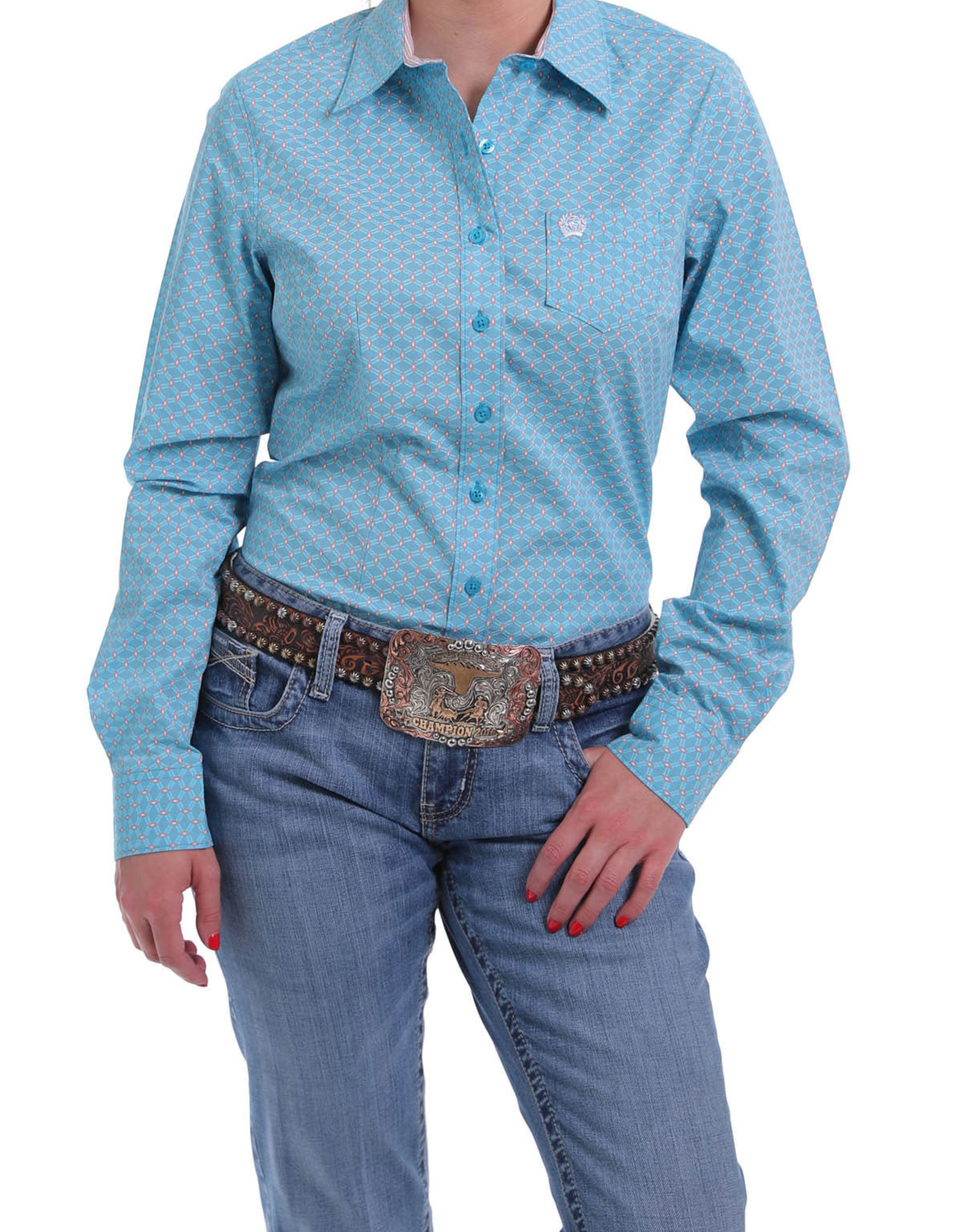 Cinch Womens Cinch Long Sleeve Lt Blue Coral Shirt
