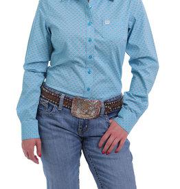 Cinch Womens Cinch Long Sleeve Light Blue Coral Shirt