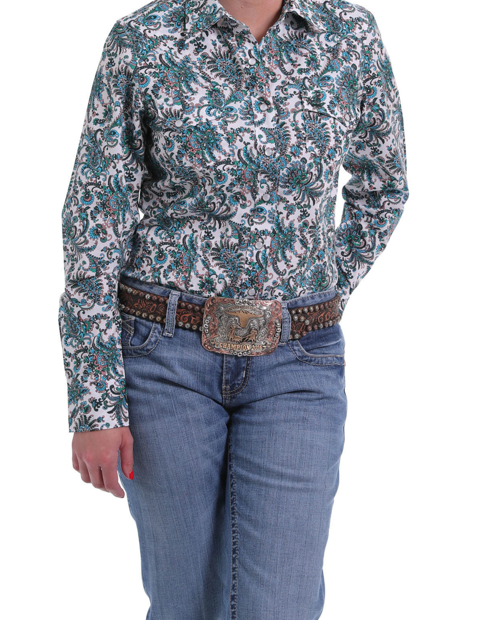 Cinch Womens Cinch Long Sleeve Blue Multi Color Paisley Shirt
