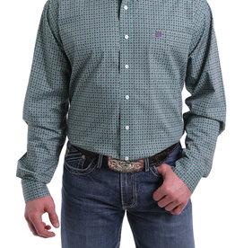 Cinch Mens Long Sleeve Green Purple Print Shirt