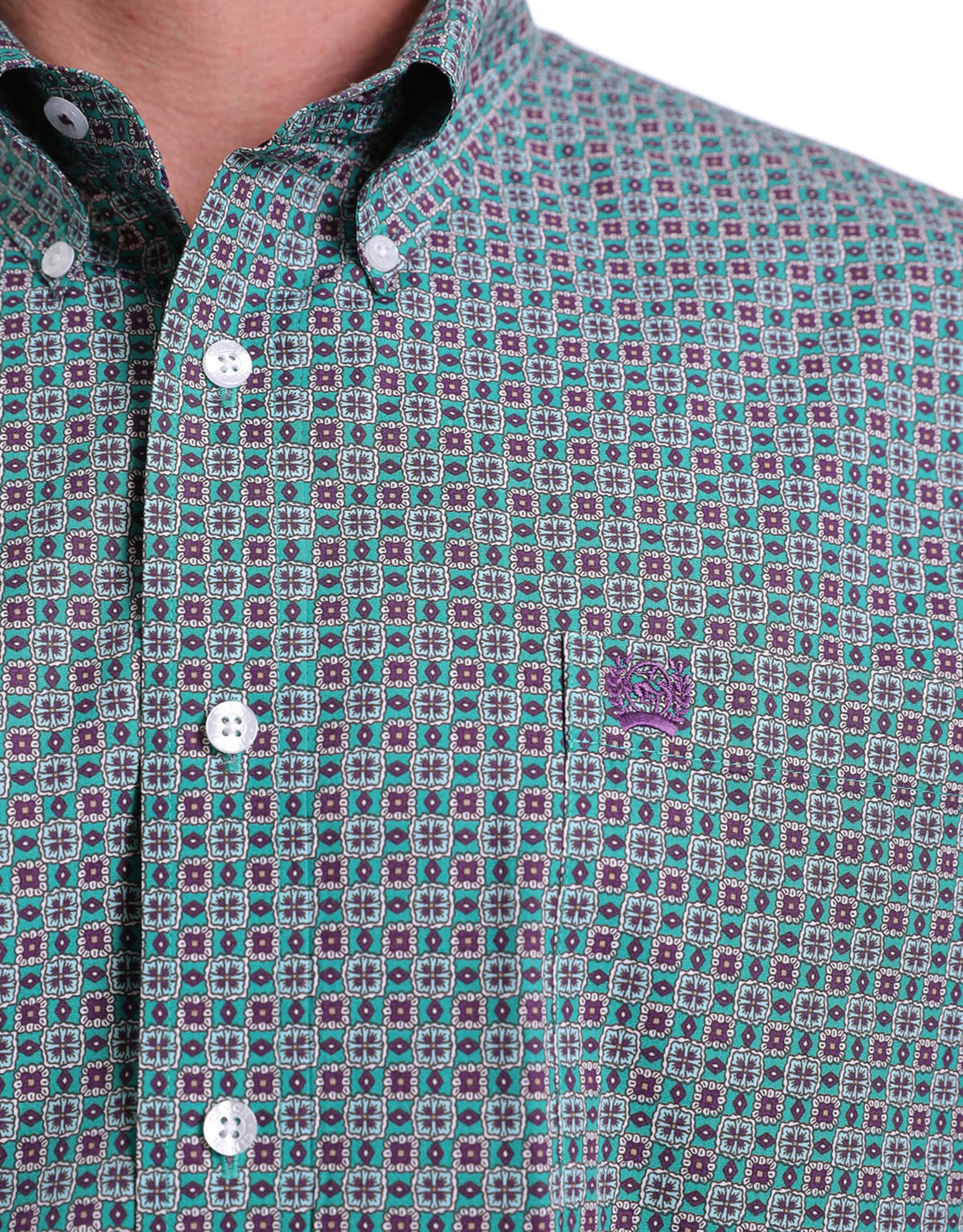 Cinch Mens Long Sleeve Green Purple Print Shirt