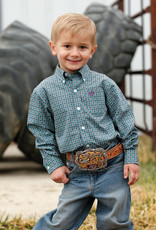 Cinch TODDLER GREEN, TEAL AND PURPLE PRINT BUTTON-DOWN SHIRT