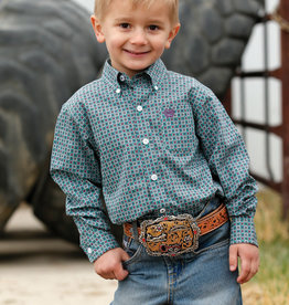 Cinch INFANT GREEN, TEAL AND PURPLE PRINT BUTTON-DOWN SHIRT