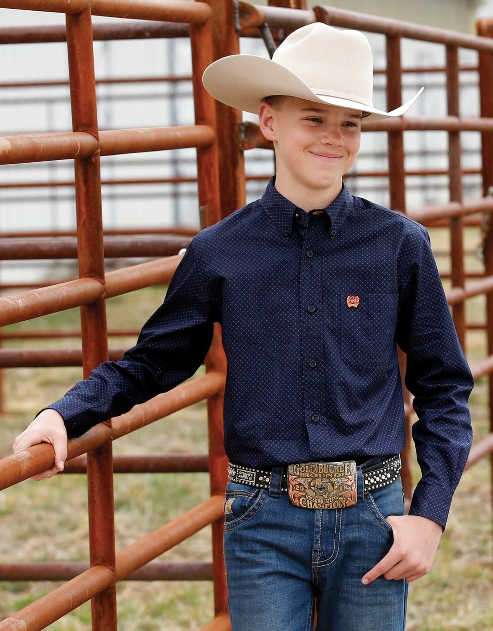 Cinch Cinch Boys Long Sleeve Navy Orange Print Button Shirt