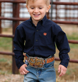 Cinch Cinch Long Sleeve Toddler Navy Orange Button Print