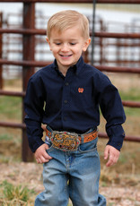 Cinch Cinch Infant Long Sleeve Navy Orange Button Print
