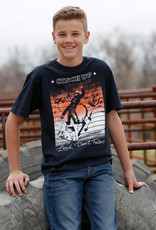 Cinch Cinch Boys Black Orange Bucking Horse Short Sleeve T Shirt