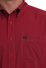 Cinch MENS SHORT SLEEVE ARENA FLEX BUTTON-DOWN SHIRT - RED N BLACK PRINT