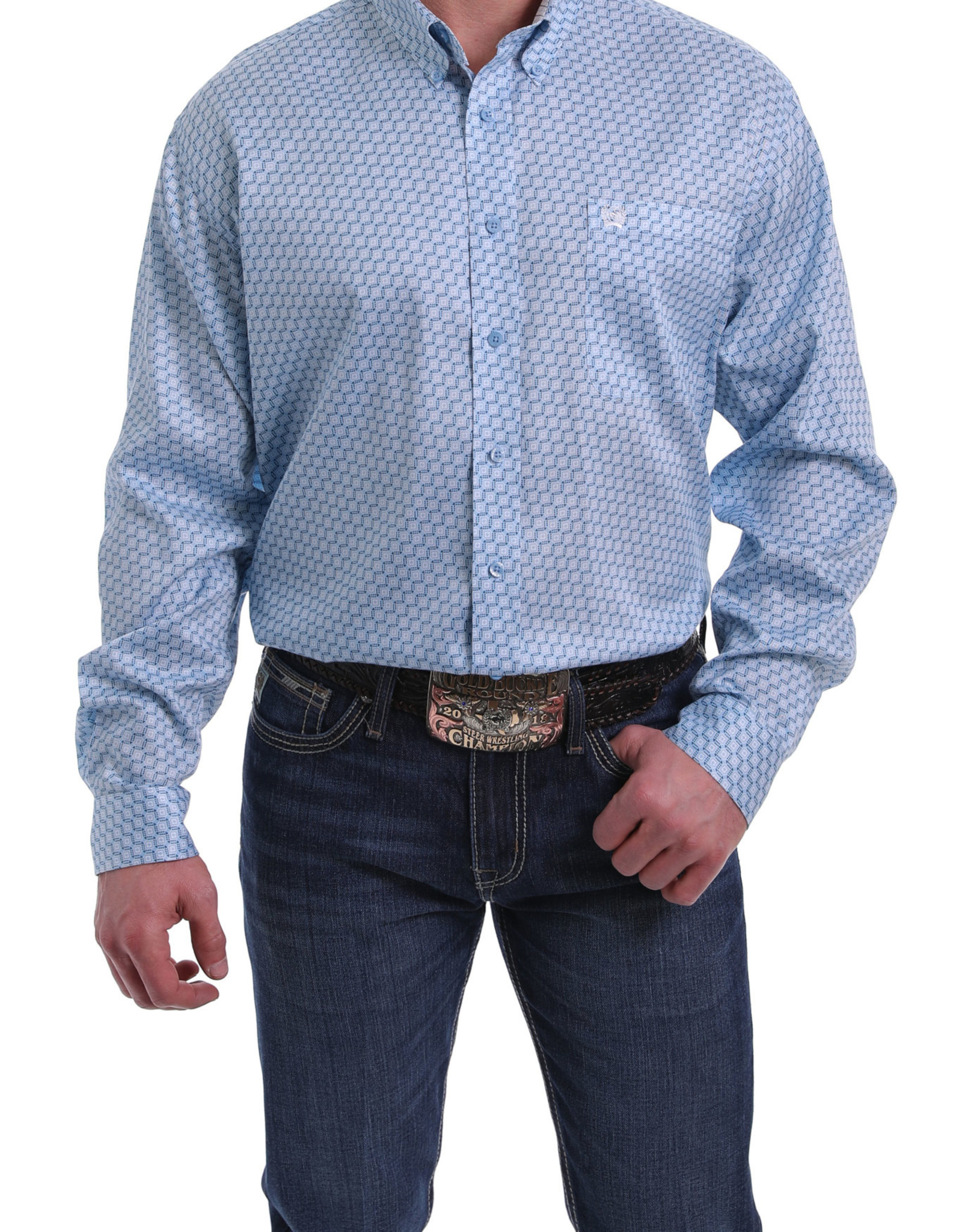 Cinch Mens Long Sleeve Light Blue Print Shirt