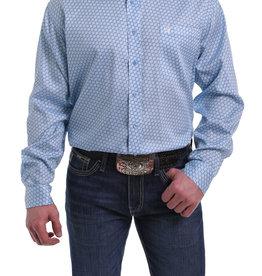 Cinch Mens Long Sleeve Light Blue Print Shirt