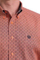 Cinch Mens Cinch Long Sleeve Button Down Orange Print