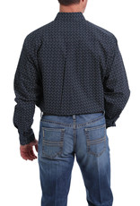 Cinch Mens Cinch Long Sleeve Button Down Navy Print